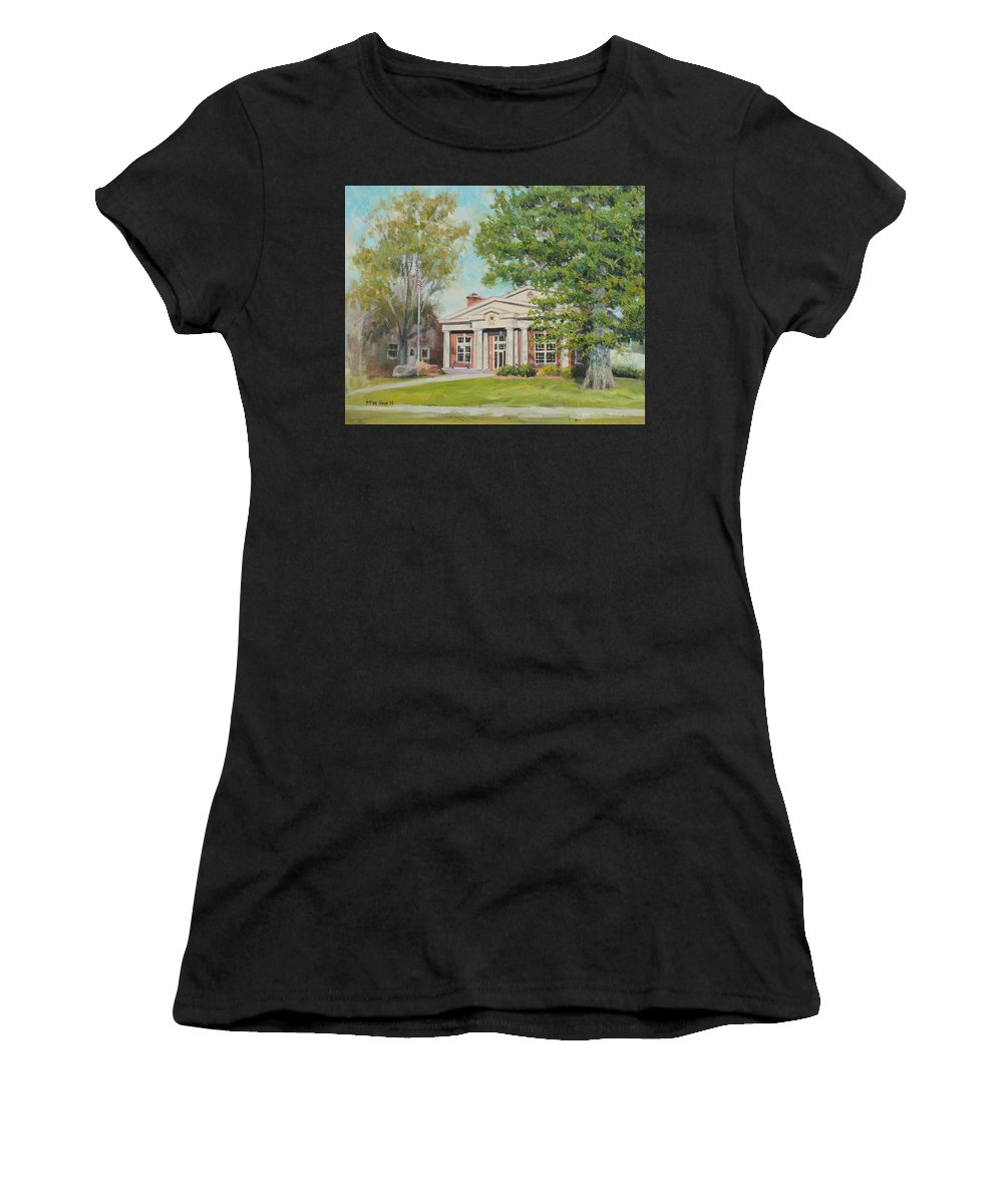 Sigma Chi Depauw University Fraternity Women's T-Shirt (Athletic Fit) featuring the painting Sigma Chi Depauw by Steve Haigh
