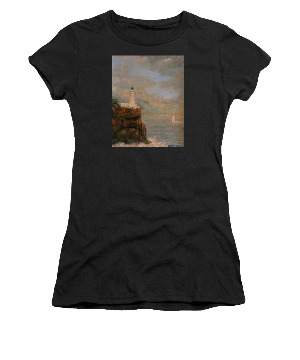 Lighthouse Women's T-Shirt featuring the painting Signal Point by Robert Wright