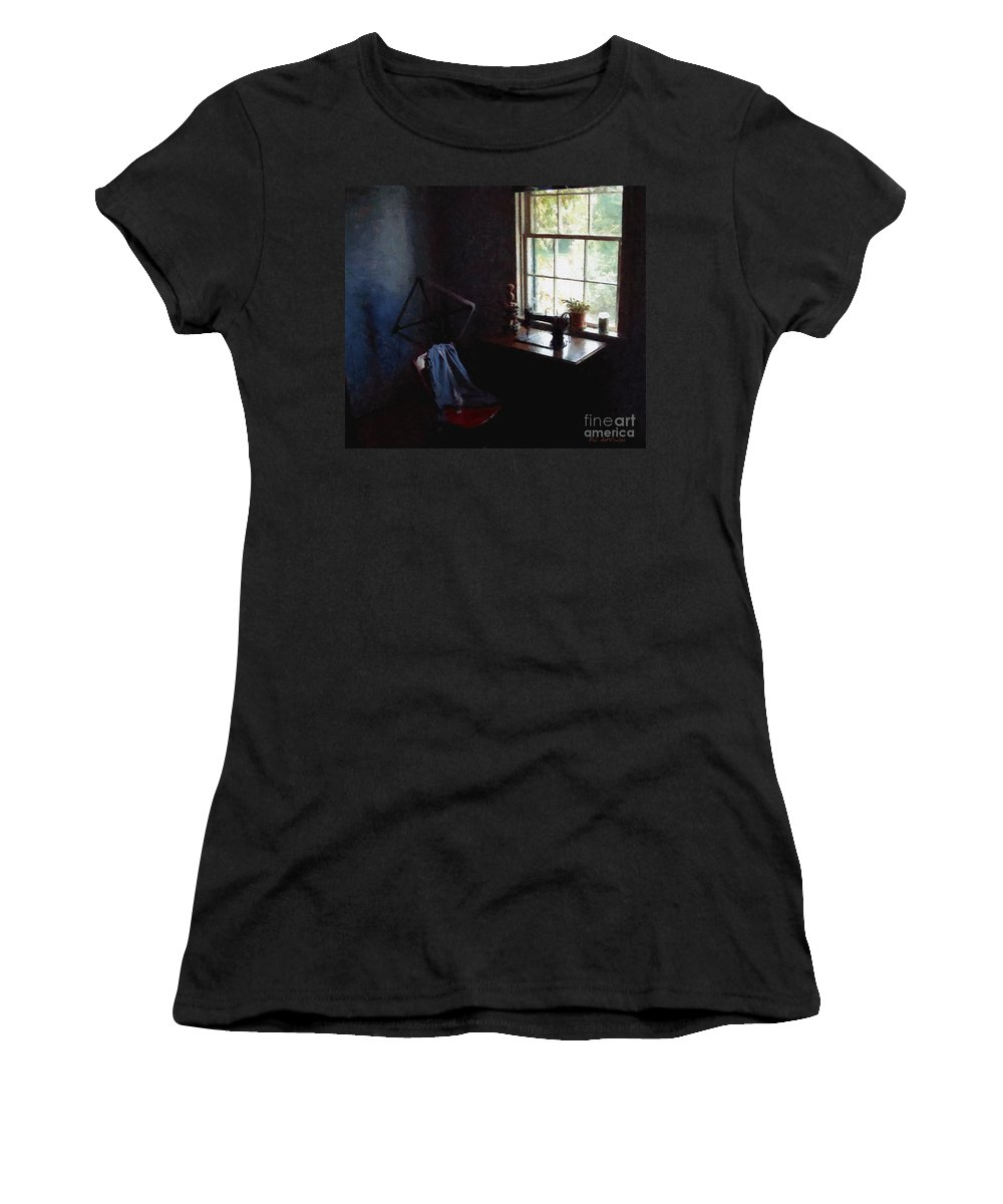 Sewing Room Women's T-Shirt (Athletic Fit) featuring the painting Silent Sewing Room by RC DeWinter