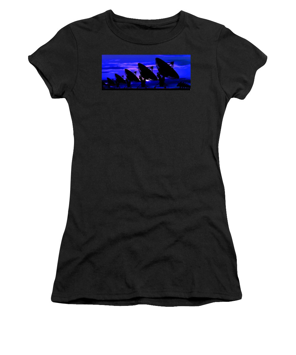 Photography Women's T-Shirt featuring the photograph Silhouette Of Satellite Dishes by Panoramic Images