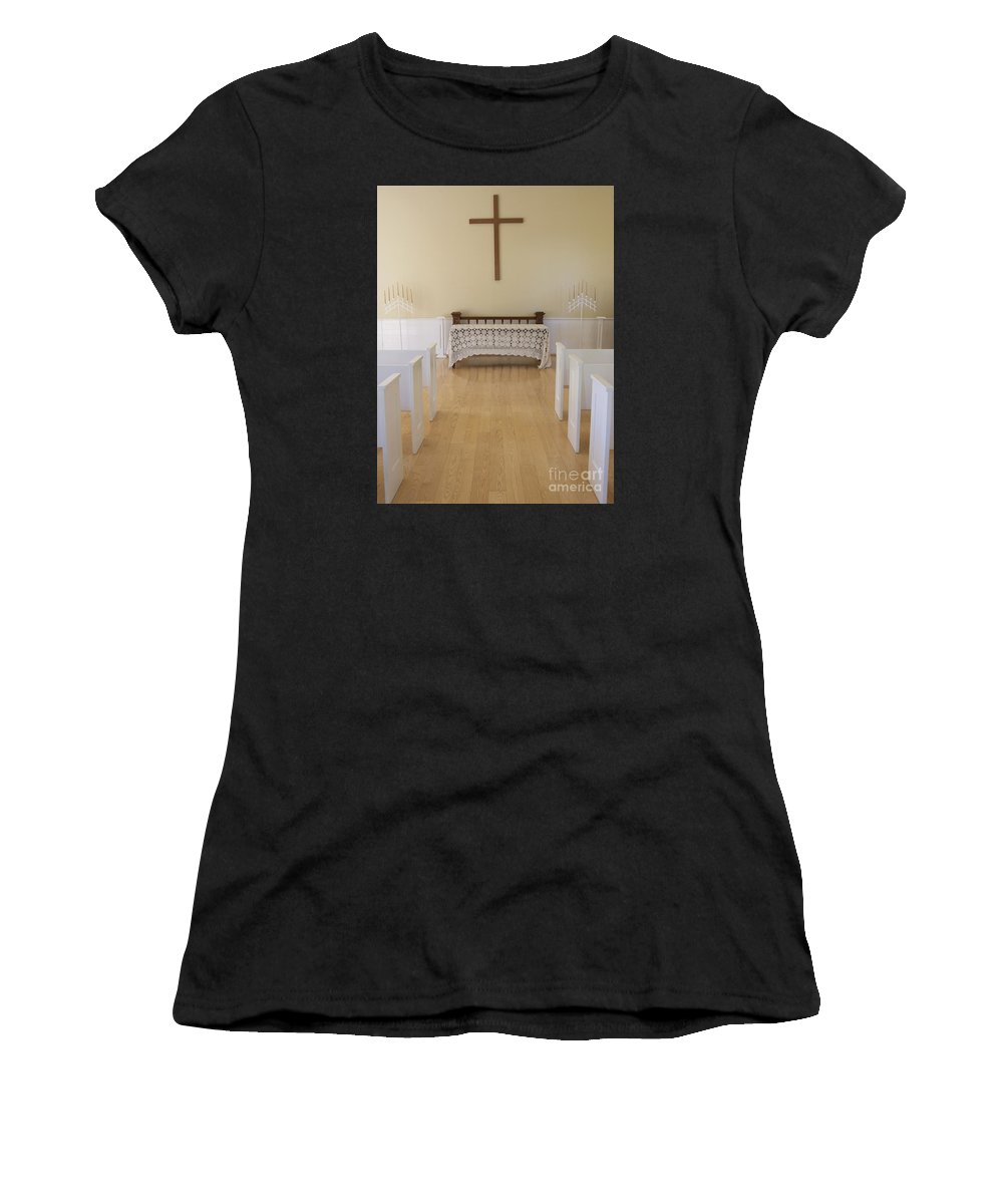 Chapel Women's T-Shirt featuring the photograph Simple Sunlit Chapel by Ann Horn