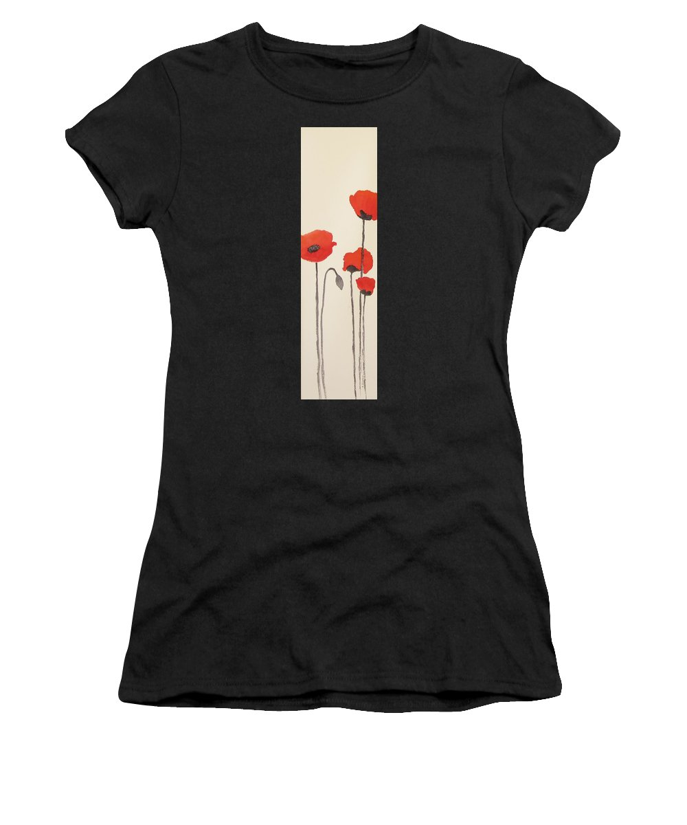 Floral Women's T-Shirt (Athletic Fit) featuring the painting Simply Poppies 2. by Elvira Ingram