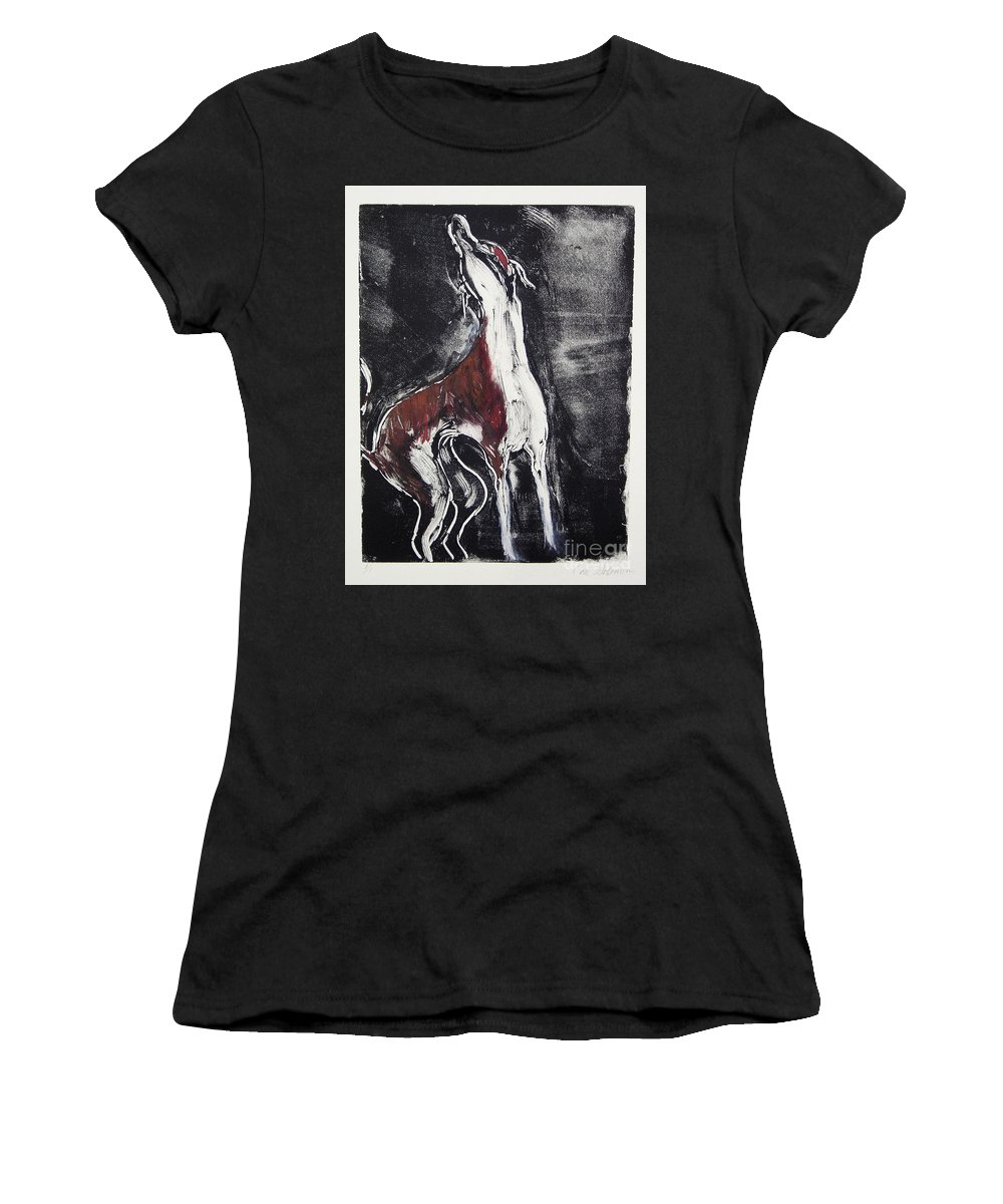 Framed Women's T-Shirt (Athletic Fit) featuring the mixed media Singing For Joy by Cori Solomon