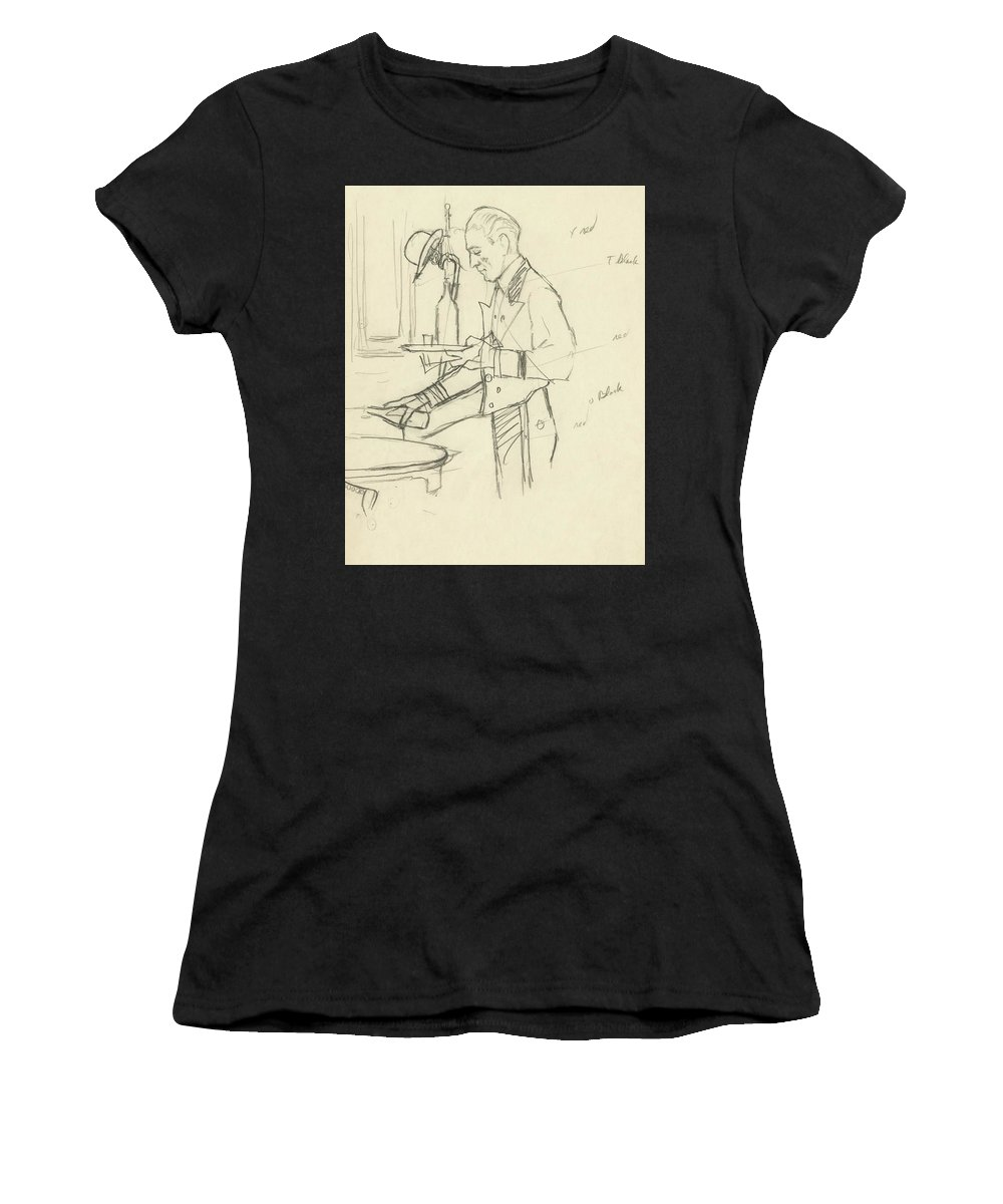 Food Women's T-Shirt featuring the digital art Sketch Of Waiter Pouring Wine by Carl Oscar August Erickson