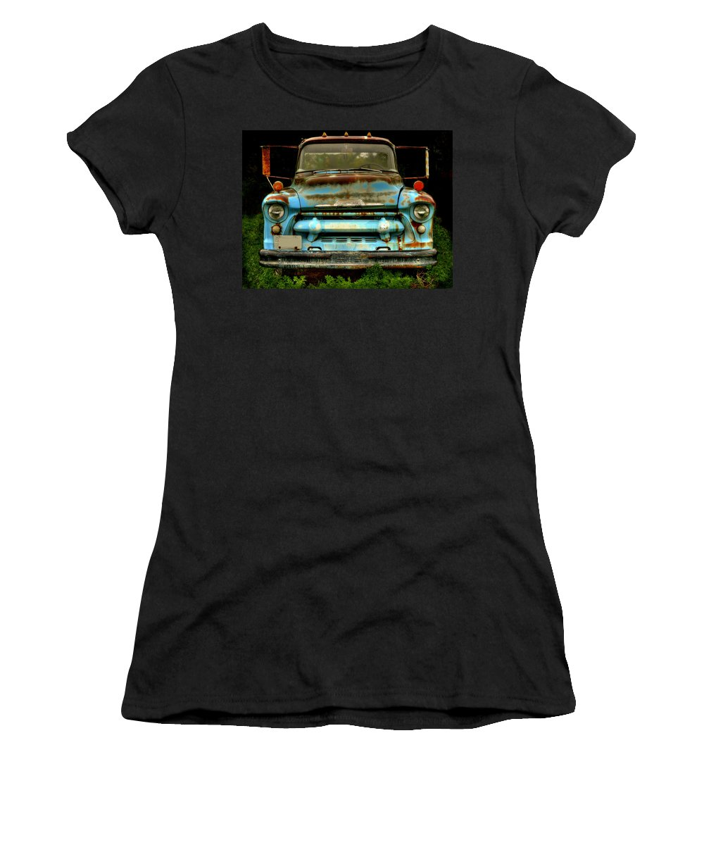 Old Chevrolet Truck Women's T-Shirt (Athletic Fit) featuring the photograph Sky Blue And Still Cool by Thomas Young