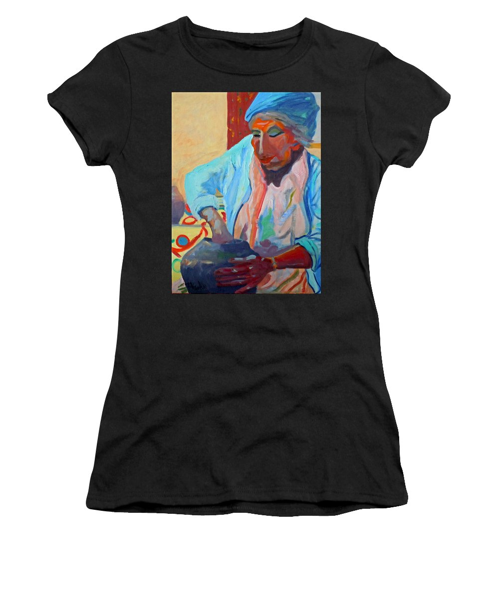 Human Figure Women's T-Shirt featuring the painting Sky City - Marie by Francine Frank