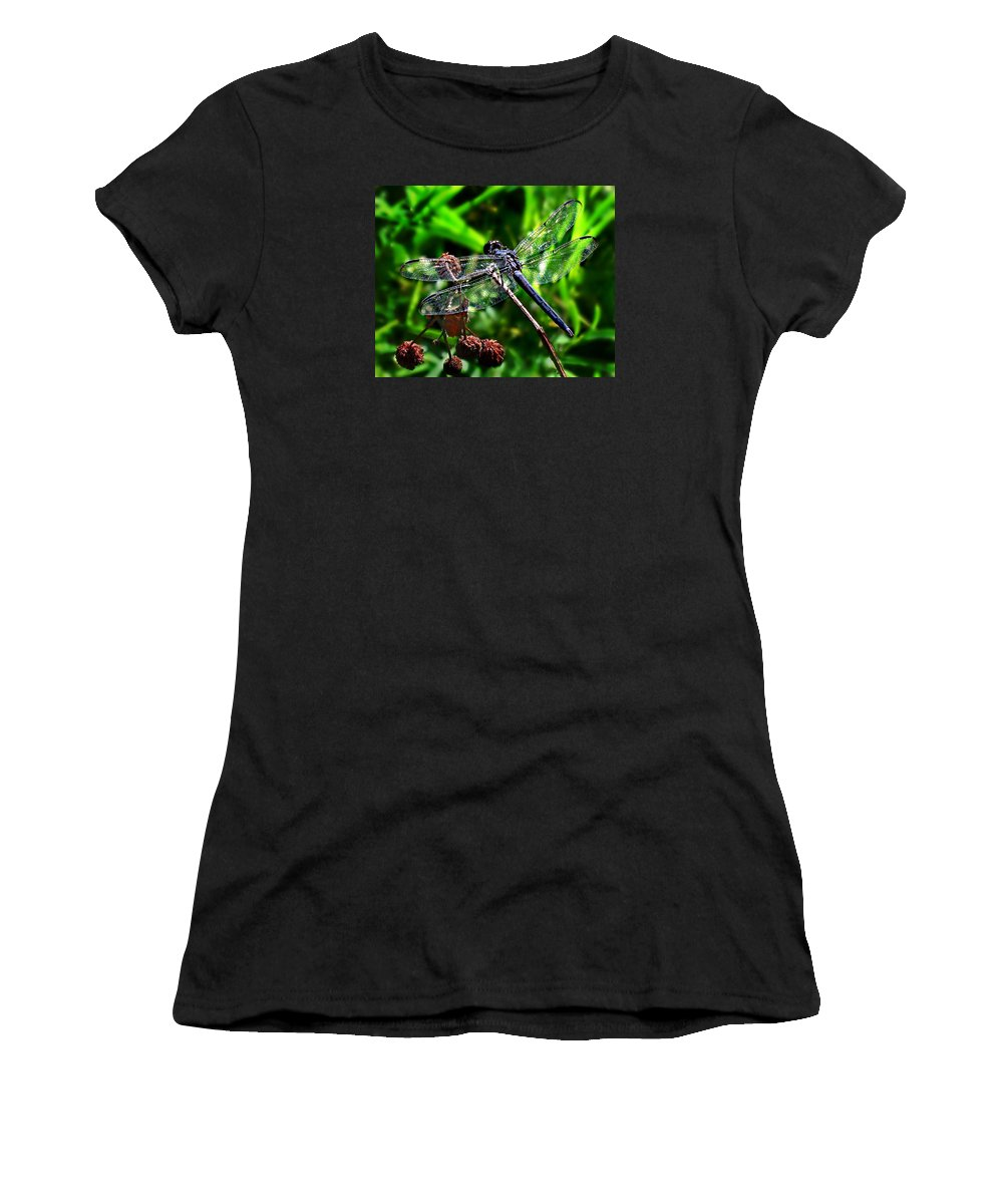 Libellula Incest Women's T-Shirt featuring the photograph Slaty Skimmer Dragonfly by William Tanneberger