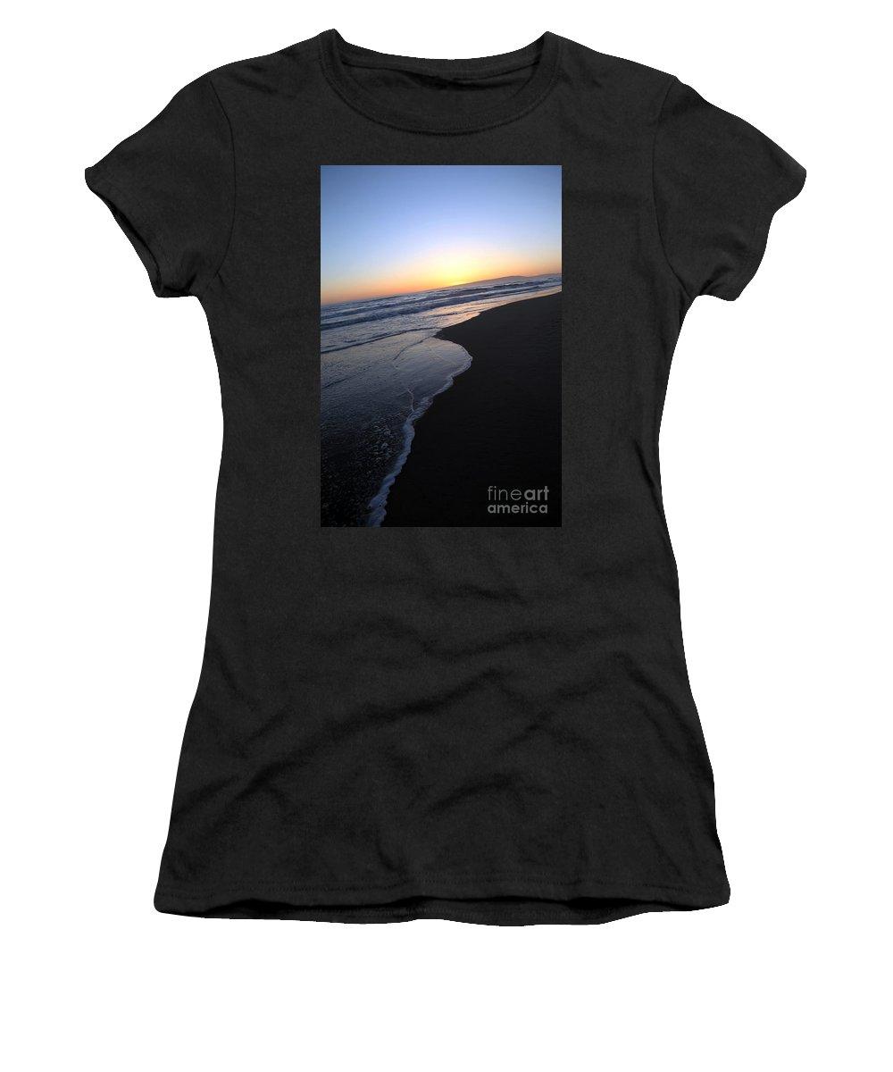 sunset Beach Women's T-Shirt featuring the photograph Sliding Down - Sunset Beach California by Amanda Barcon