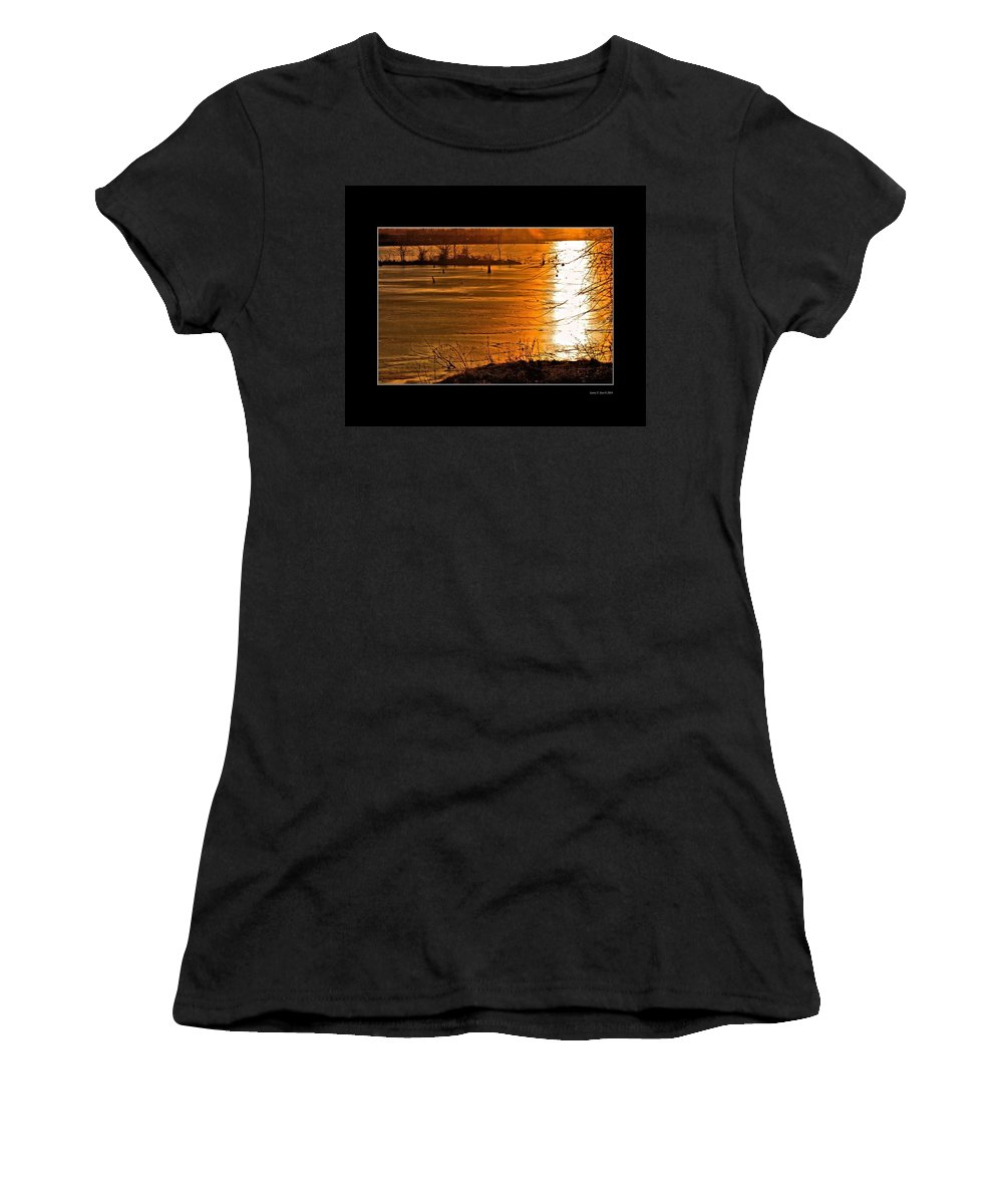 Sunset Women's T-Shirt (Athletic Fit) featuring the photograph Snow And Ice Sunset by Larry Jost