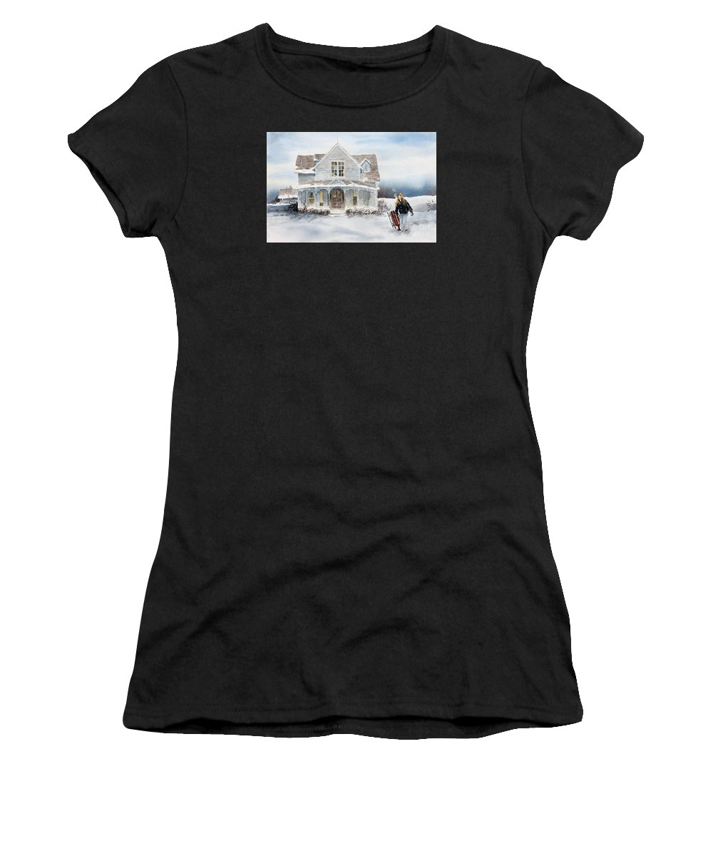 A Snow Scene Of A Young Girl And Her Sled At Her Country Home. Women's T-Shirt featuring the painting Snow Day by Monte Toon