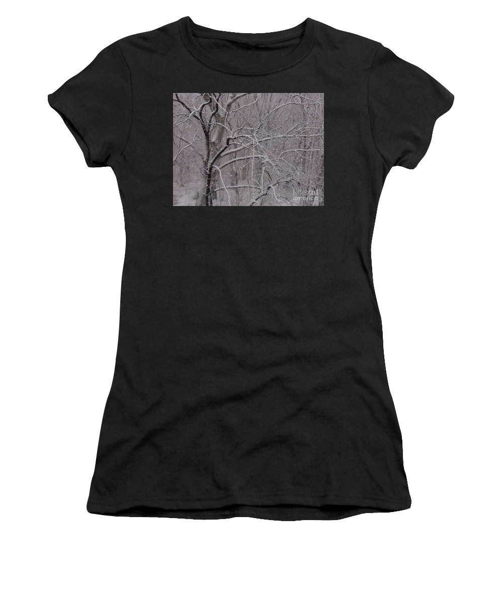 Bridge Women's T-Shirt (Athletic Fit) featuring the photograph Snow In The Trees At Bulls Island by Christopher Plummer