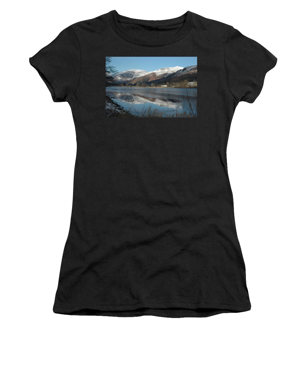 Lakedistrict Women's T-Shirt featuring the photograph Snow Lake Reflections by Kathy Spall