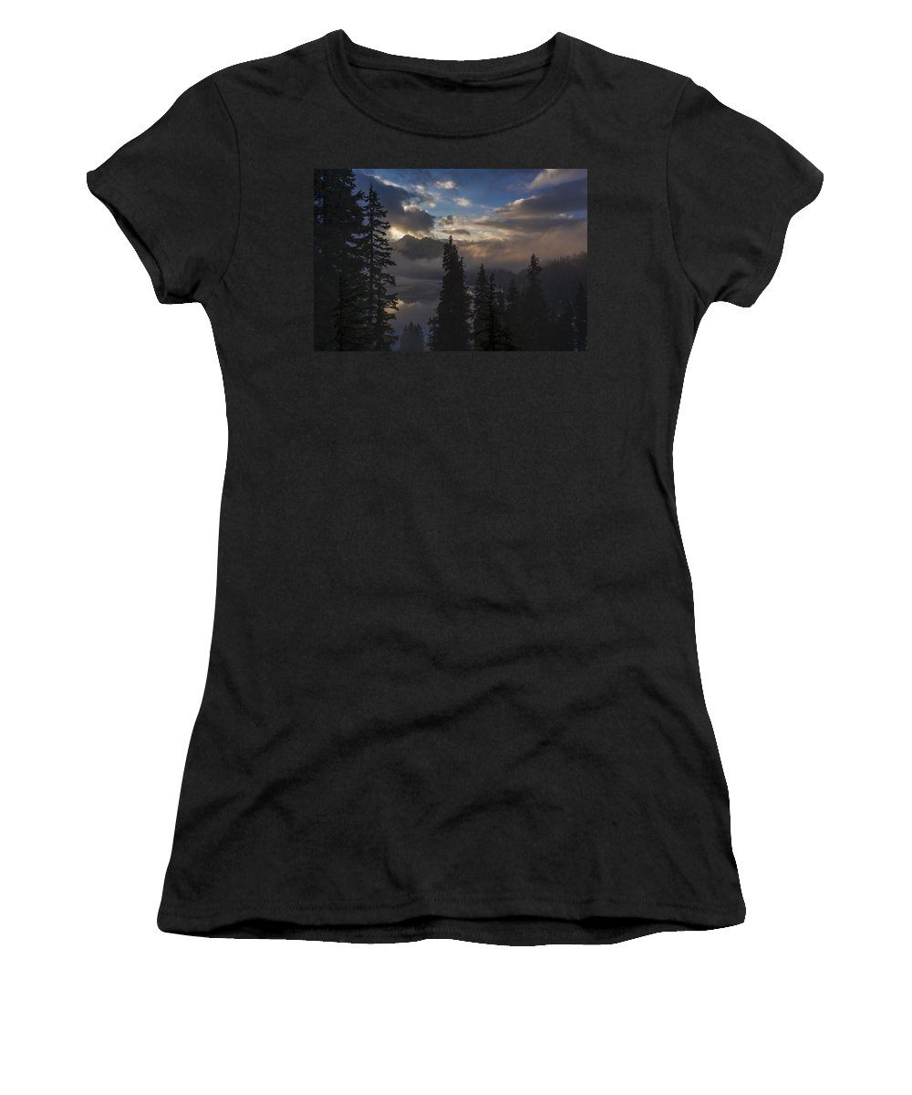 Snow Lake Women's T-Shirt featuring the photograph Snow Lake Sunset by Mike Reid