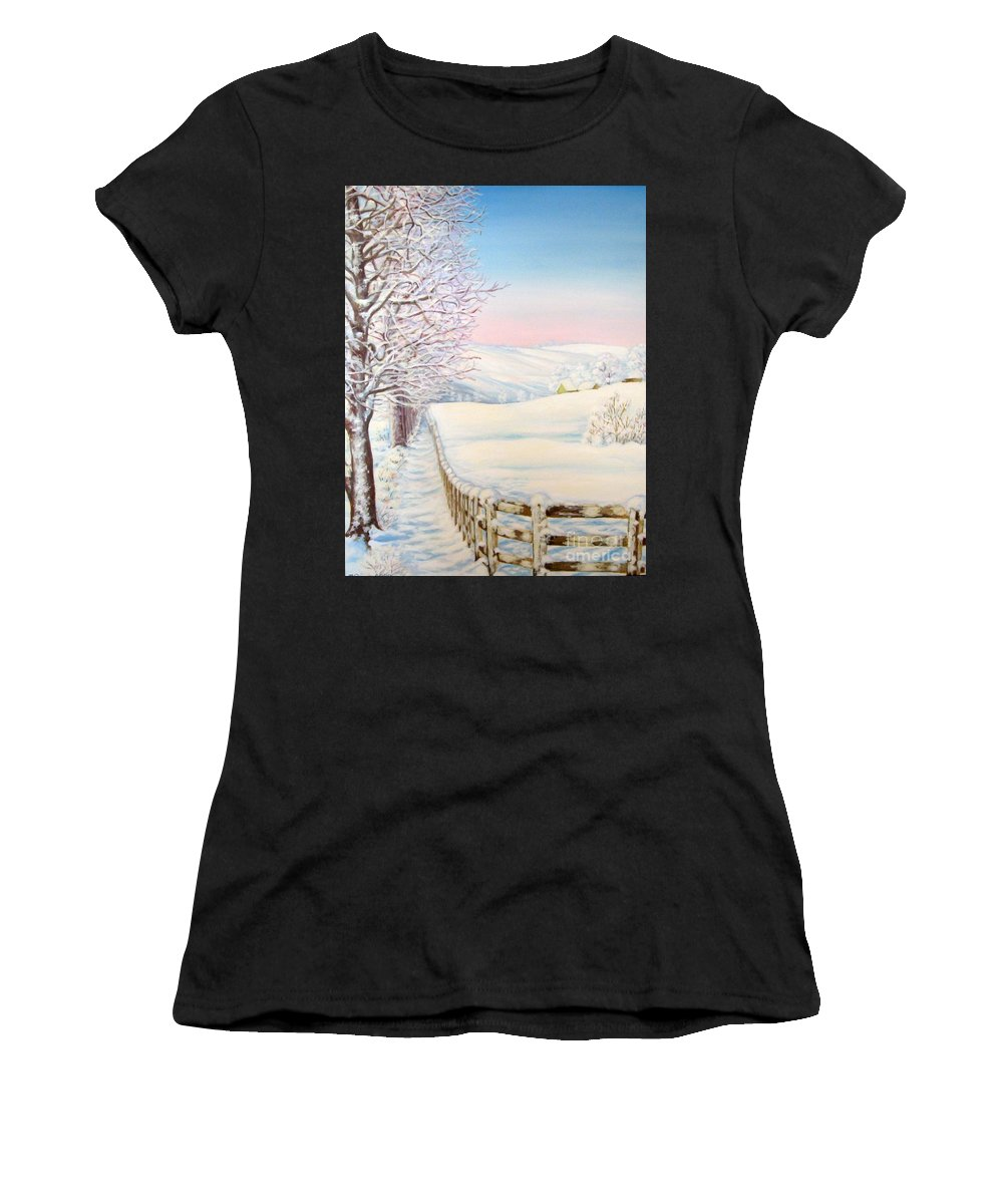 Winter Women's T-Shirt (Athletic Fit) featuring the painting Snow Path by Inese Poga
