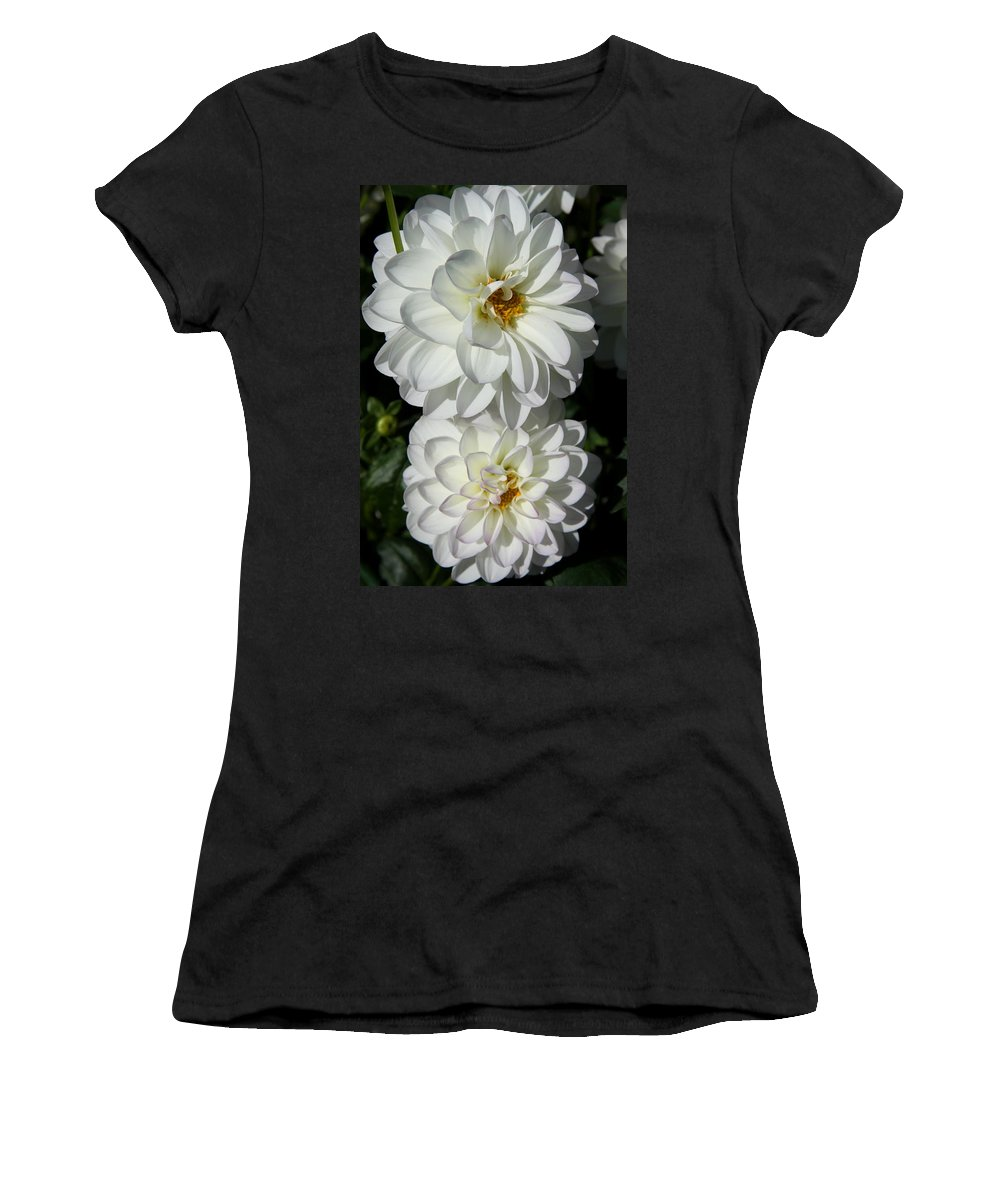 Dahlia Women's T-Shirt featuring the photograph Snow White by Christiane Schulze Art And Photography