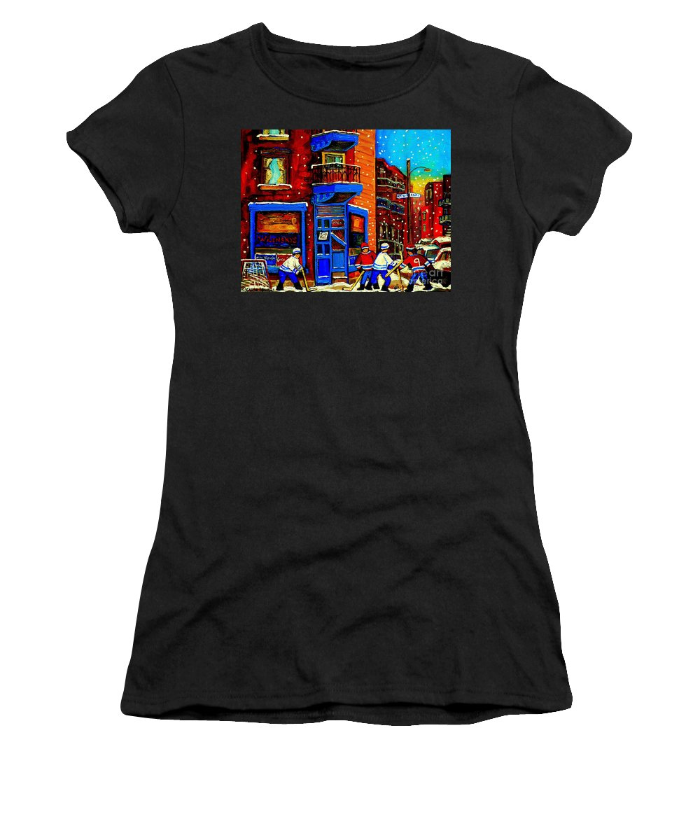 Montreal Women's T-Shirt (Athletic Fit) featuring the painting Snowday Hockey Practice Wilenskys Corner Fairmount And Clark Montreal City Scene Carole Spandau by Carole Spandau