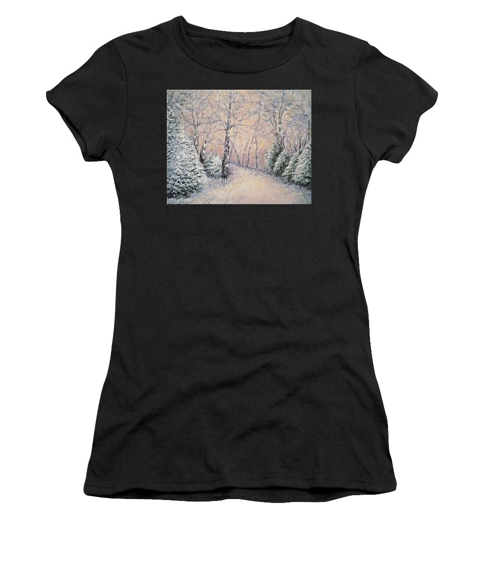 Snow Landscape Women's T-Shirt (Athletic Fit) featuring the painting Snowflakes by Natalie Holland