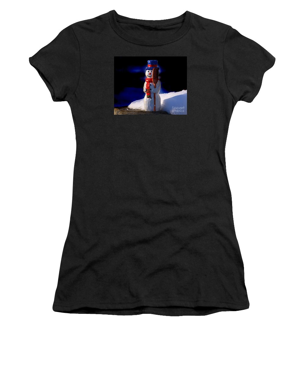 Snowman Women's T-Shirt featuring the sculpture Snowman By George Wood by Karen Adams