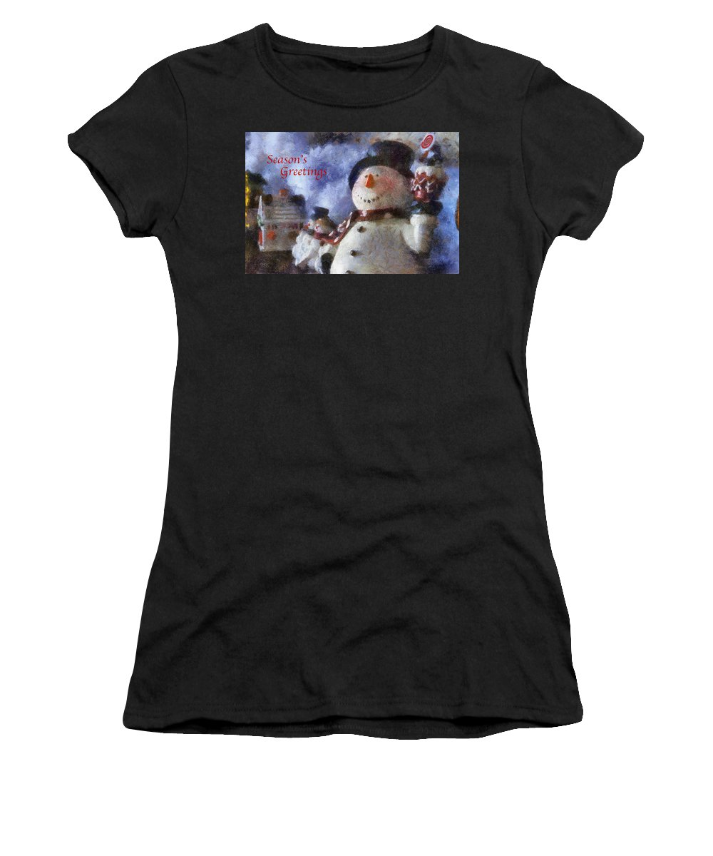 Winter Women's T-Shirt (Athletic Fit) featuring the photograph Snowman Season Greetings Photo Art 01 by Thomas Woolworth