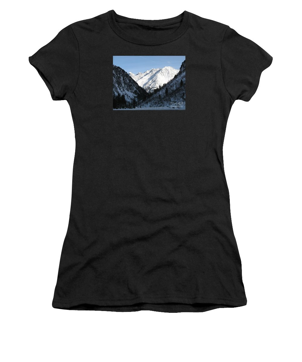 Snow Women's T-Shirt (Athletic Fit) featuring the photograph Snowwhite Mountain Top by Christiane Schulze Art And Photography