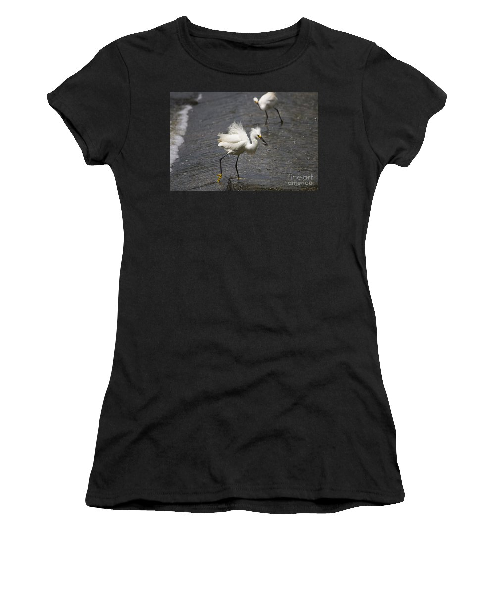Snowy Egret Women's T-Shirt featuring the photograph Snowy Egret With Fish No.2 by John Greco