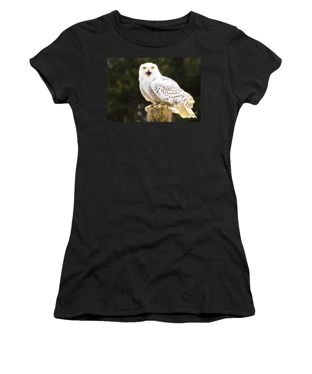 Snowy Women's T-Shirt (Athletic Fit) featuring the photograph Snowy Owl by Les Palenik