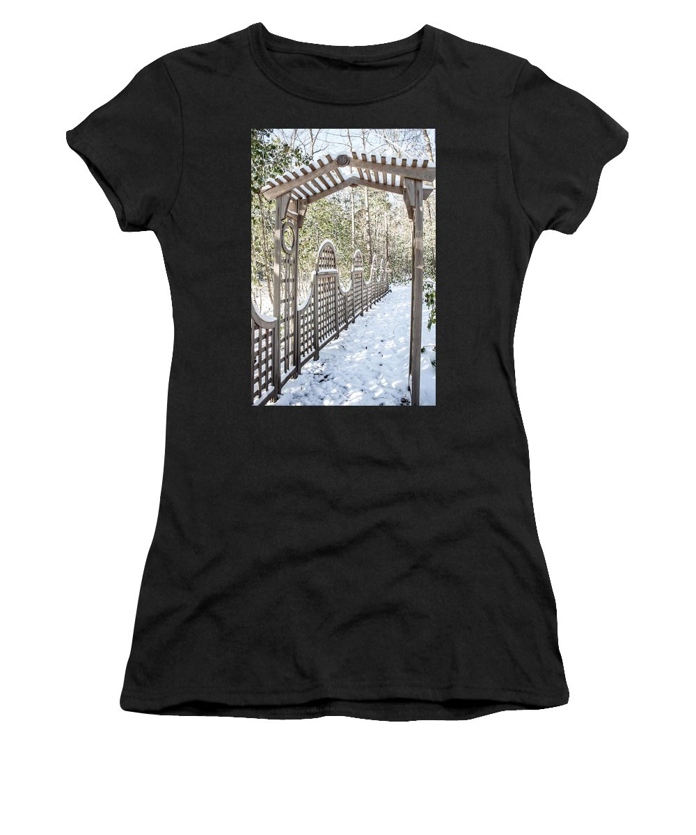 Photograph Women's T-Shirt (Athletic Fit) featuring the photograph Snowy Promenade by Nicole Parks