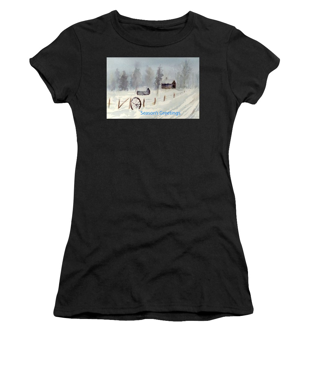 Snow Women's T-Shirt featuring the painting Snowy Road by Christine Lathrop