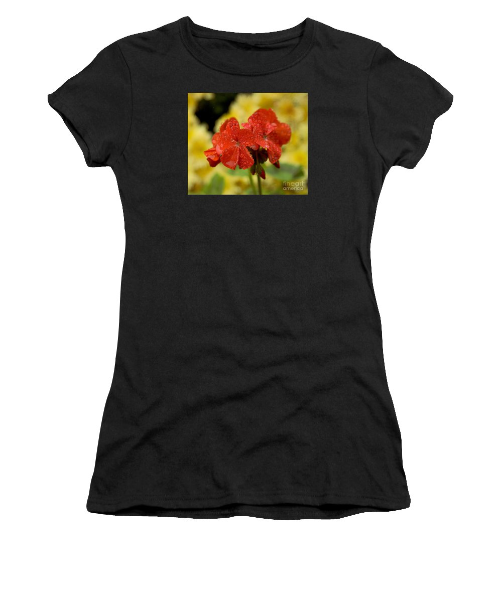 Flora Women's T-Shirt (Athletic Fit) featuring the photograph Wet Pedals by Thomas Levine