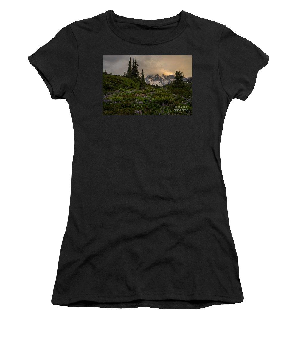 Rainier Women's T-Shirt featuring the photograph Soft Spoken Rainier Meadows by Mike Reid