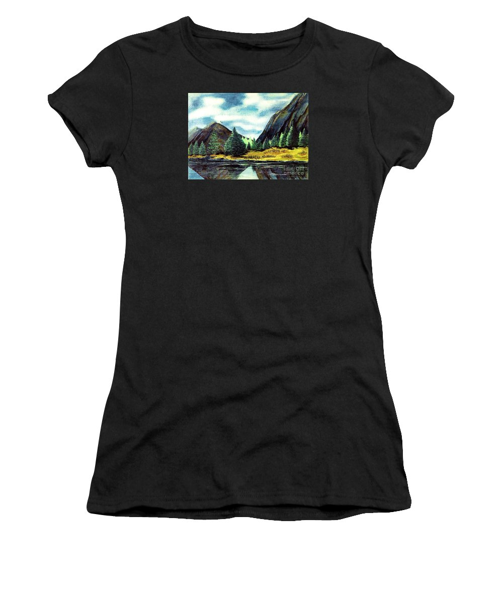 Fine Art Women's T-Shirt (Athletic Fit) featuring the painting Solitude by Patricia Griffin Brett