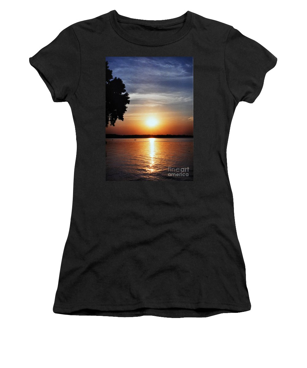 Somewhere Sunset Women's T-Shirt (Athletic Fit) featuring the photograph Somewhere Sunset by Lydia Holly