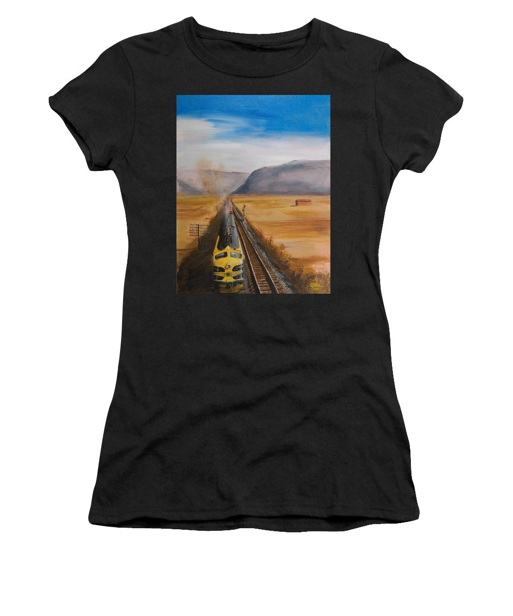 Train Women's T-Shirt featuring the painting Somewhere West Of Corning by Christopher Jenkins