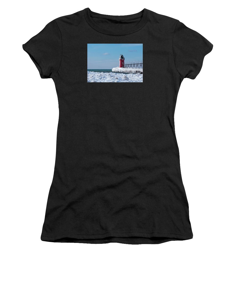 Lighthouse Women's T-Shirt (Athletic Fit) featuring the photograph South Haven Ice by Ann Horn
