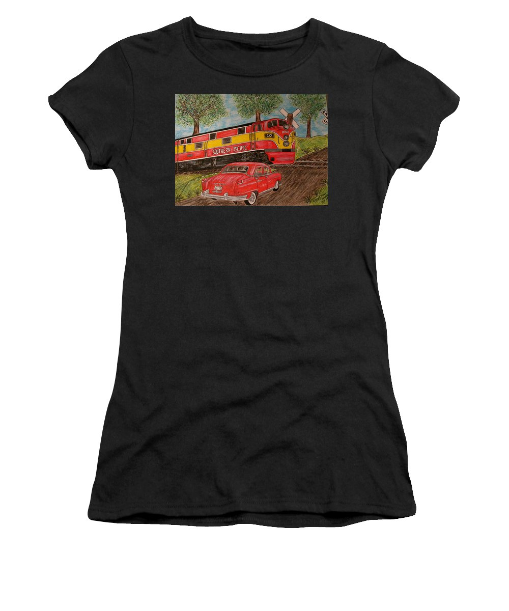 Southern Pacific Railroad Women's T-Shirt (Athletic Fit) featuring the painting Southern Pacific Train 1951 Kaiser Frazer Car Rr Crossing by Kathy Marrs Chandler
