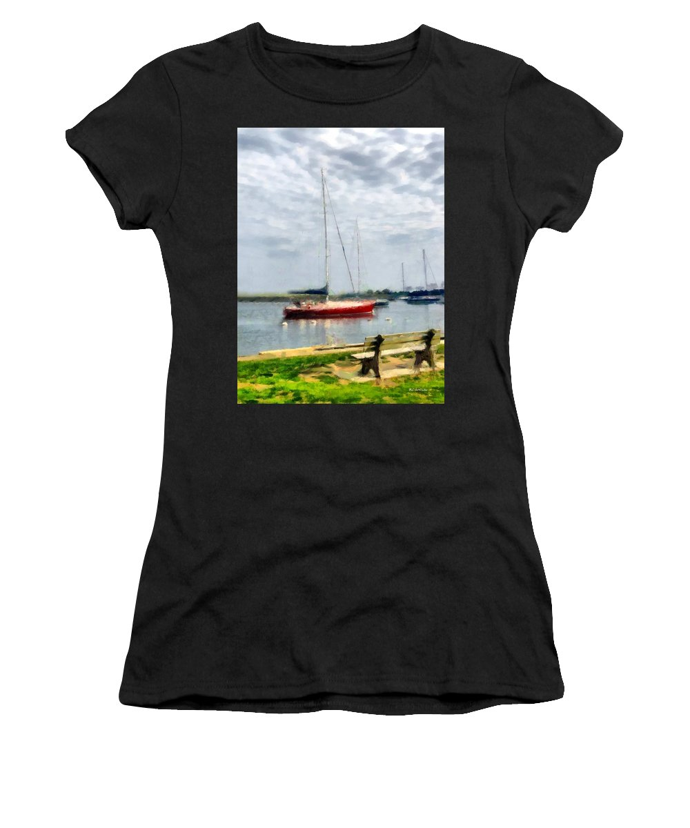 Boats Women's T-Shirt (Athletic Fit) featuring the painting Southport Harbor In Spring by RC DeWinter