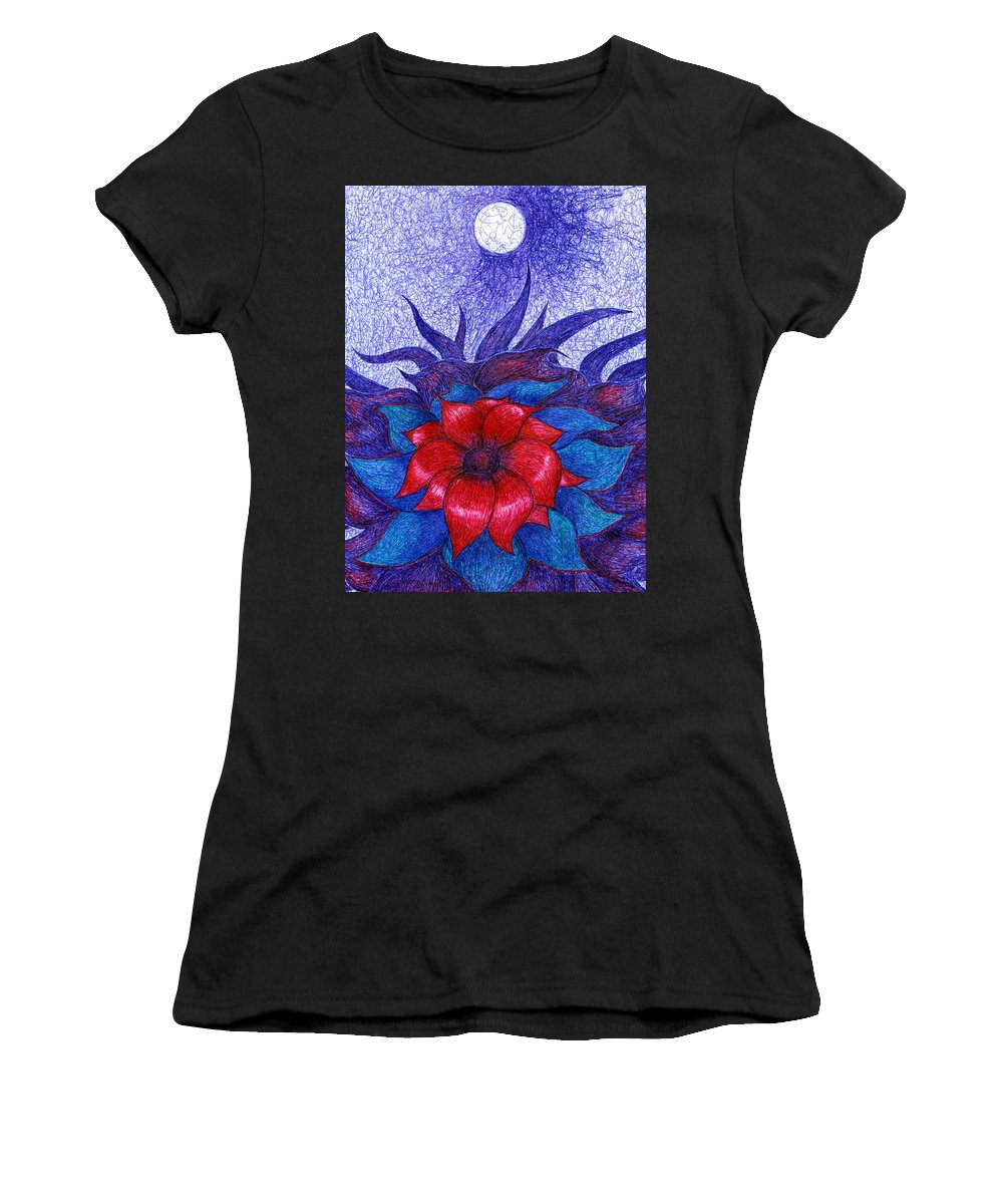 Colour Women's T-Shirt (Athletic Fit) featuring the drawing Space Flower by Wojtek Kowalski