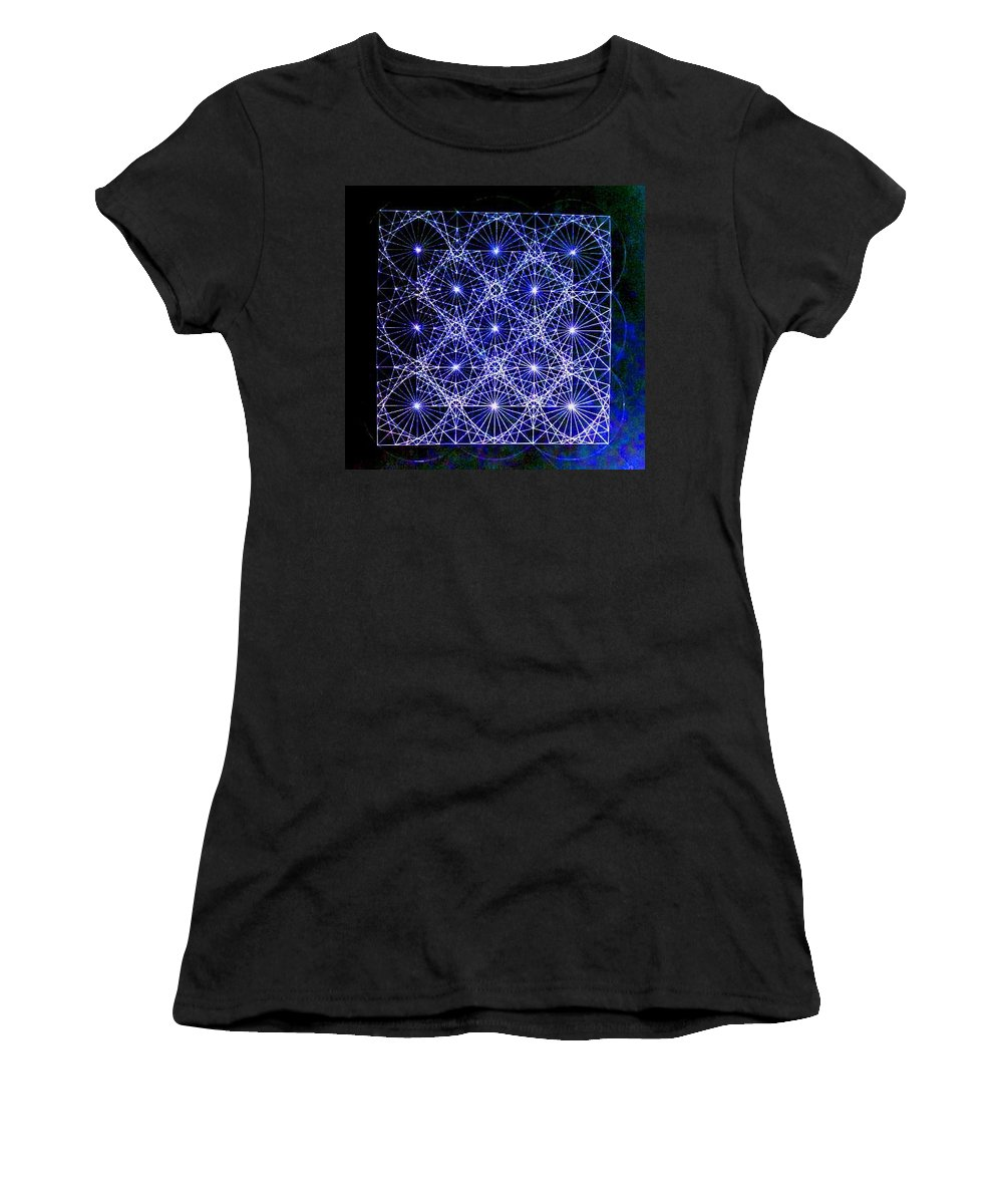 Space Women's T-Shirt featuring the drawing Space Time At Planck Length Vibrating At Speed Of Light Due To Heisenberg Uncertainty Principle by Jason Padgett