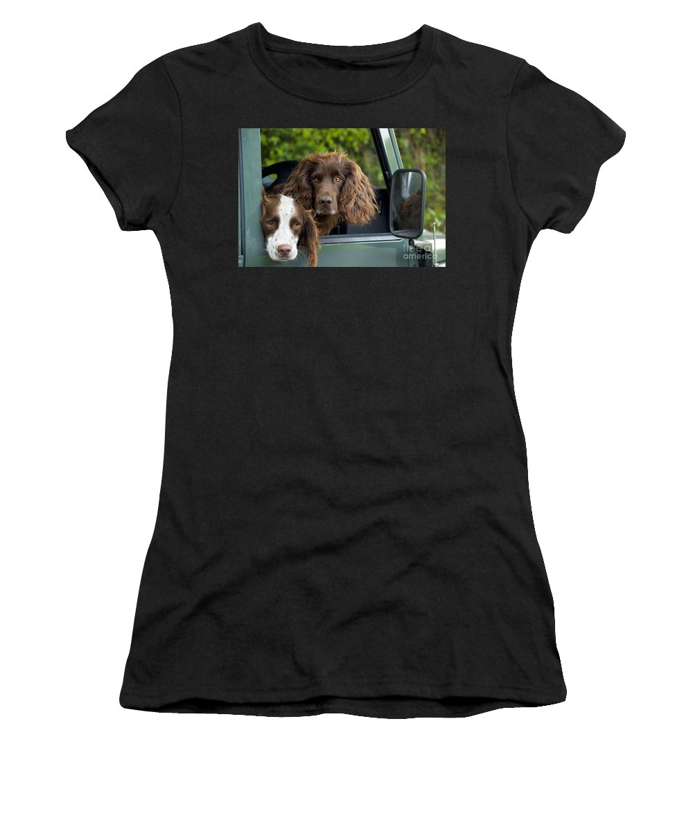 Springer Spaniel Women's T-Shirt (Athletic Fit) featuring the photograph Spaniels In Car by Ardea