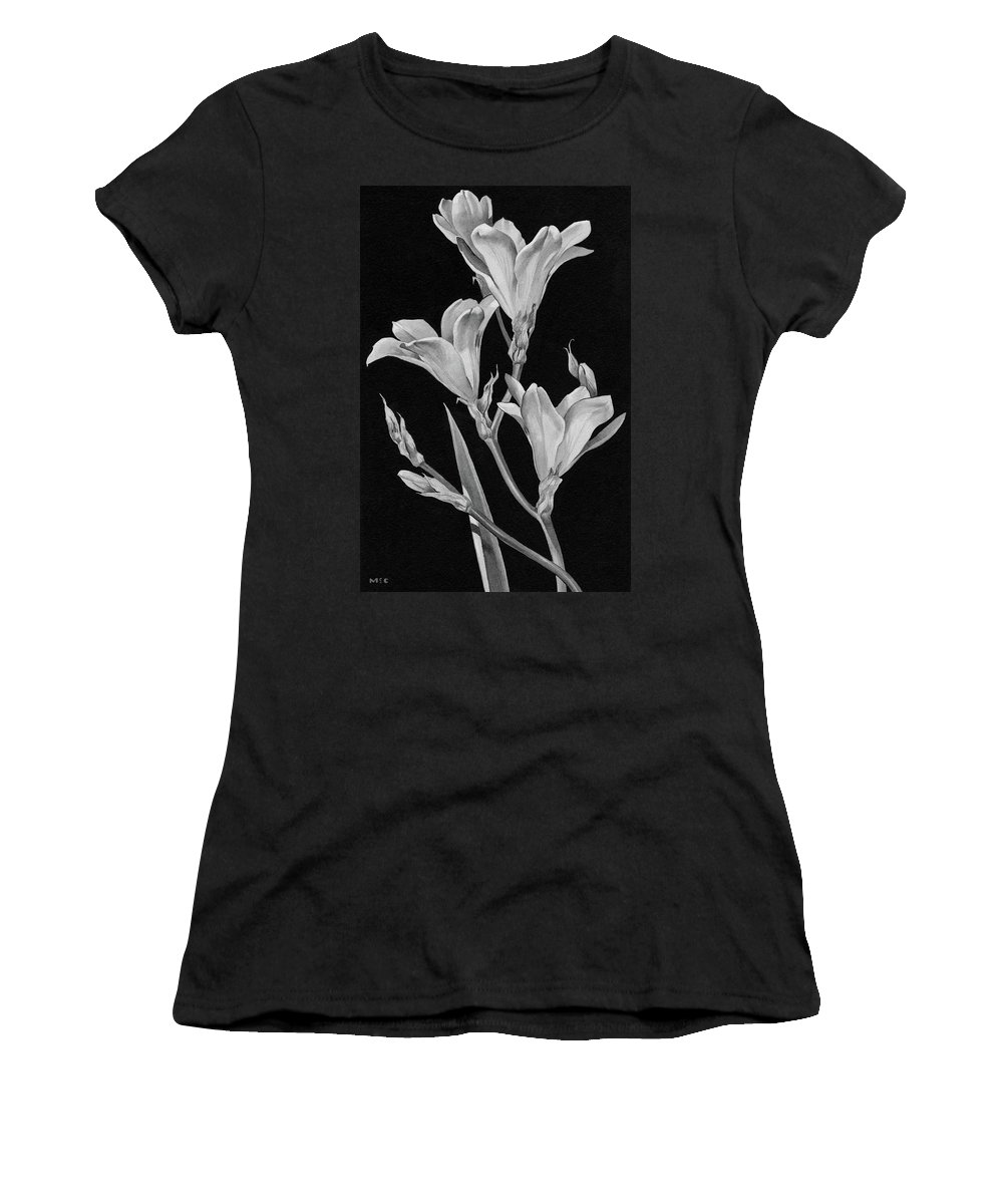 Flowers Women's T-Shirt featuring the digital art Sparaxis Flowers by Florence Mccurdy
