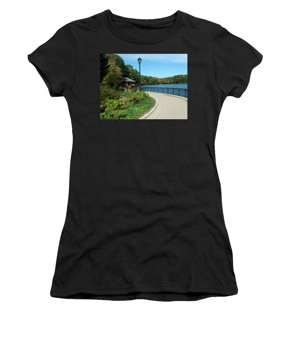 Spaulding Pond Women's T-Shirt (Athletic Fit) featuring the photograph Spaulding Pond In Fall I by Geoffrey McLean