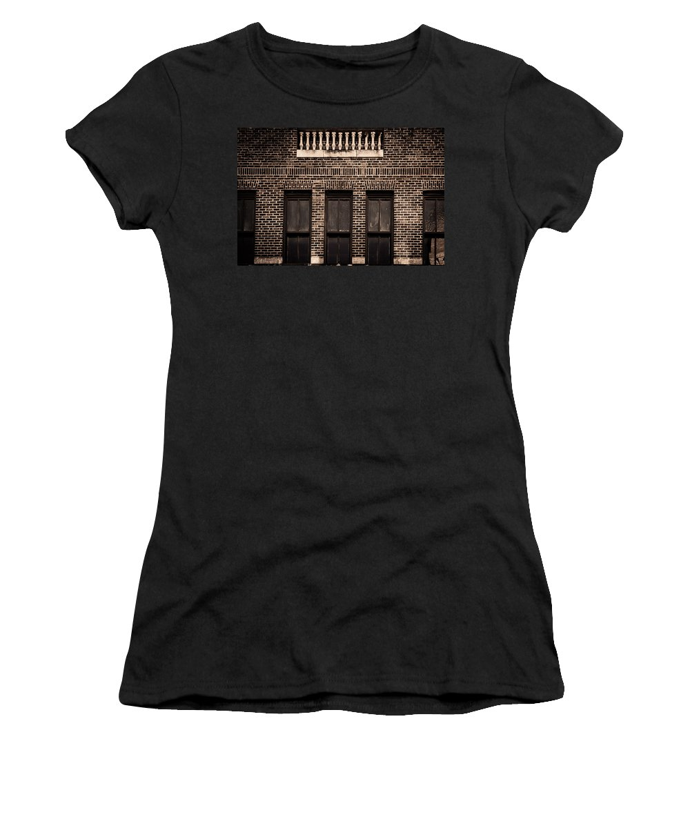 Columns Women's T-Shirt (Athletic Fit) featuring the photograph Spindles And Bricks by Melinda Ledsome