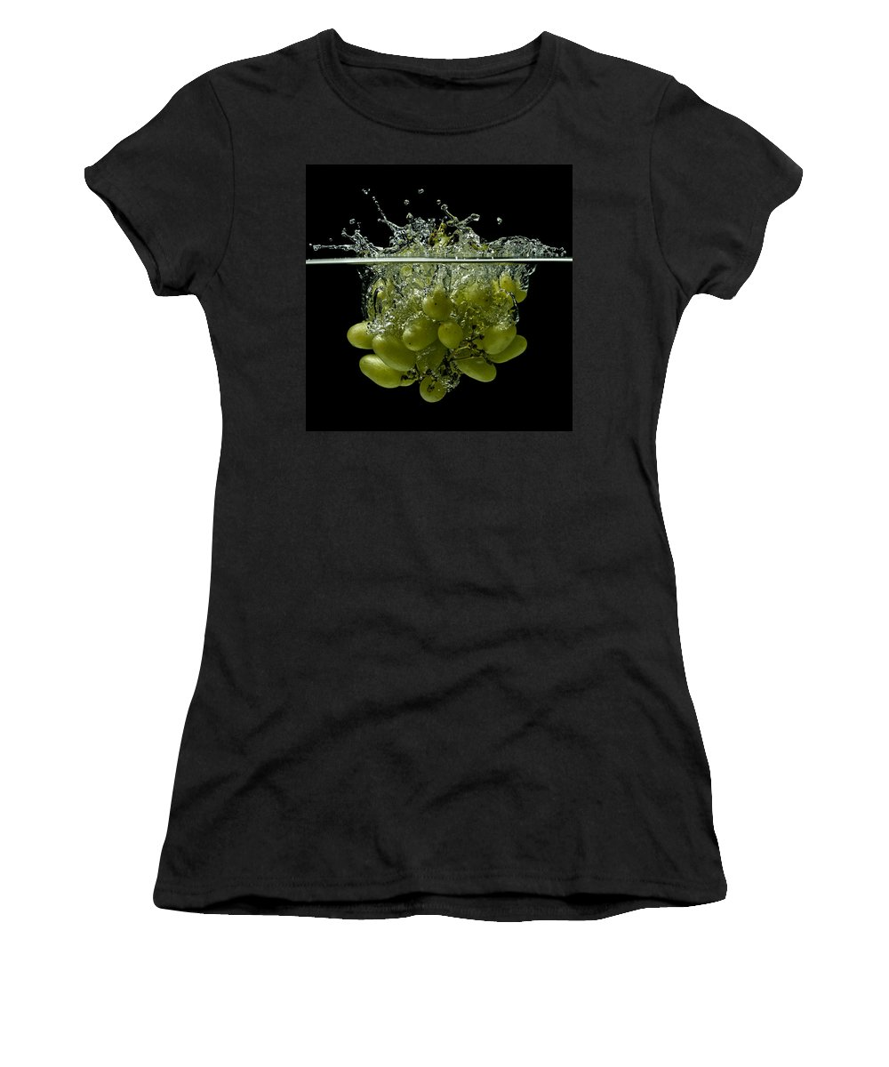 Grapes Women's T-Shirt featuring the photograph Splashing Grapes by Mike Santis