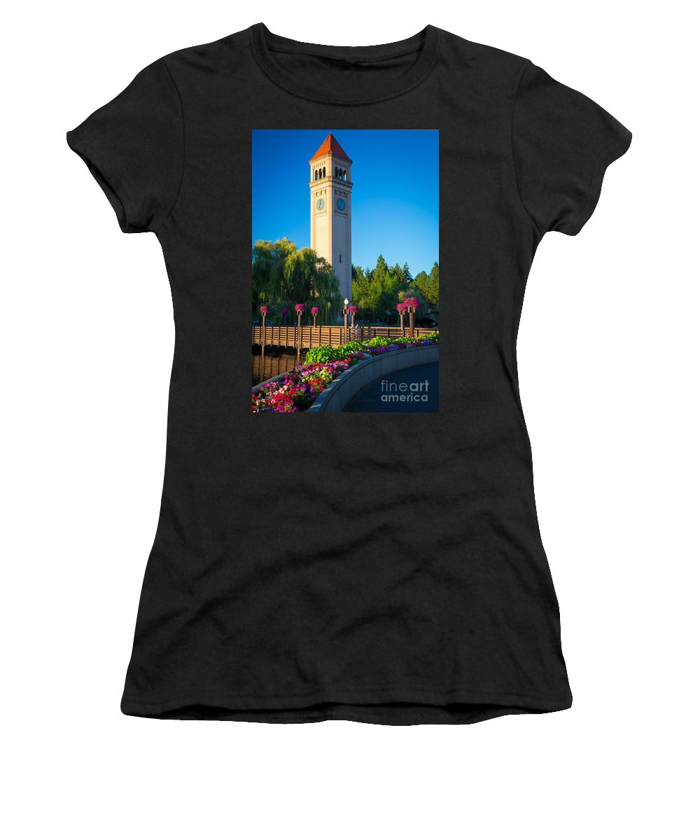 America Women's T-Shirt (Athletic Fit) featuring the photograph Spokane Clocktower by Inge Johnsson