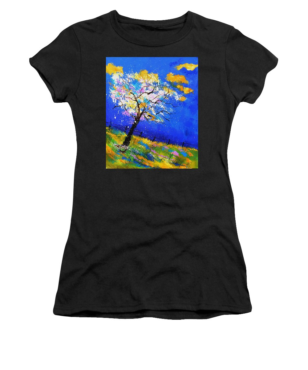 Original Oil On Canvas Stretched On A Wooden Frame Women's T-Shirt (Athletic Fit) featuring the painting Spring 563140 by Pol Ledent