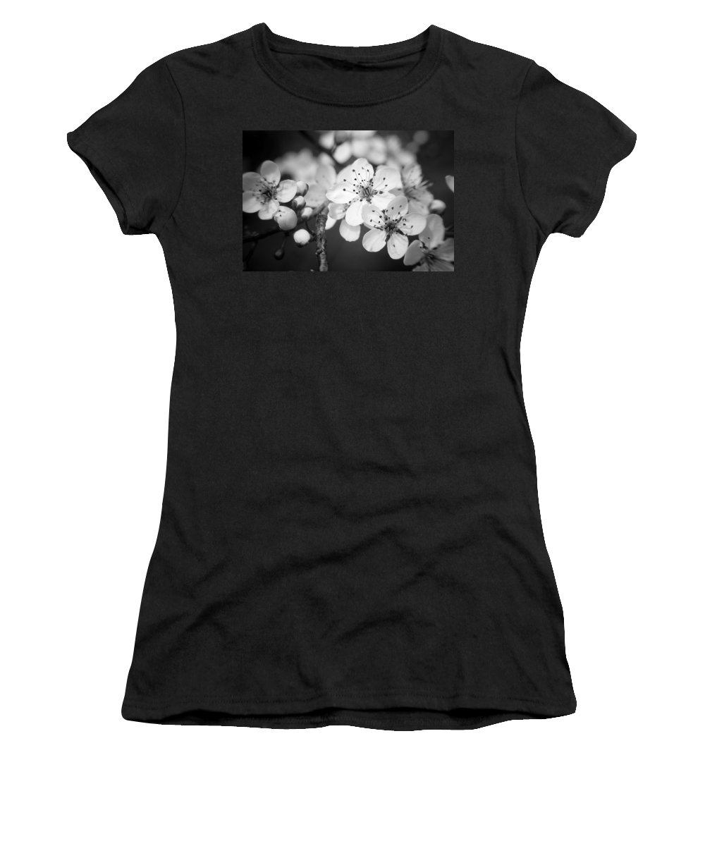 B&w Women's T-Shirt (Athletic Fit) featuring the photograph Spring Blooms 6690 by Timothy Bischoff