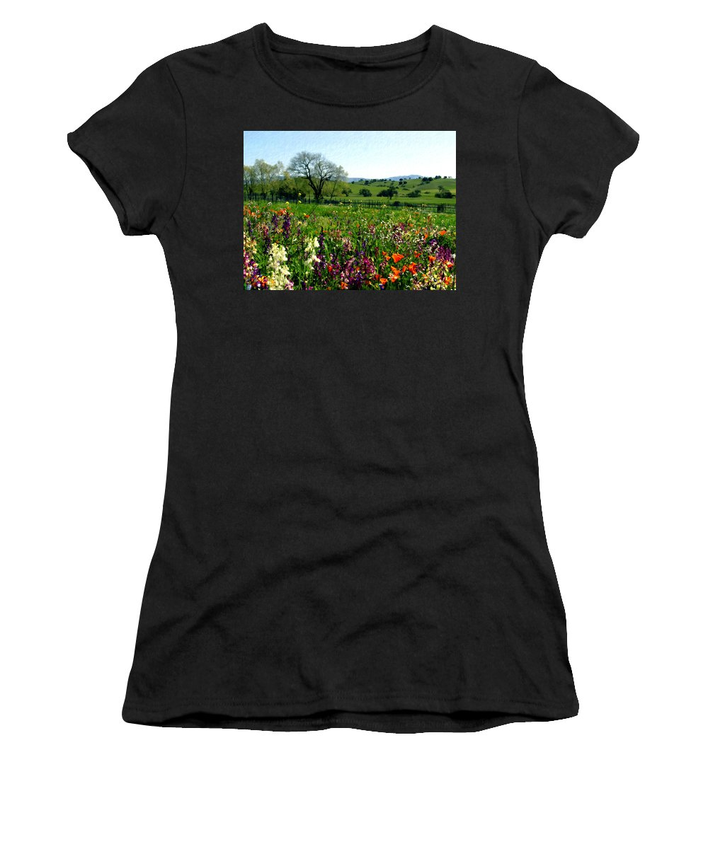 Flowers Women's T-Shirt (Athletic Fit) featuring the photograph Spring Bouquet At Rusack Vineyards by Kurt Van Wagner