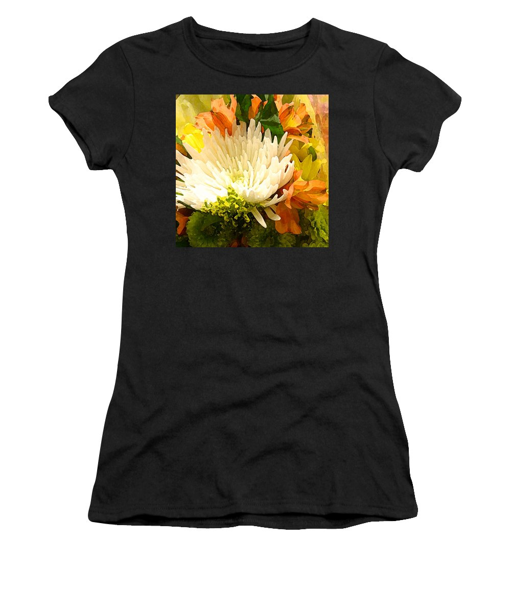 Roses Women's T-Shirt (Athletic Fit) featuring the painting Spring Flower Burst by Amy Vangsgard