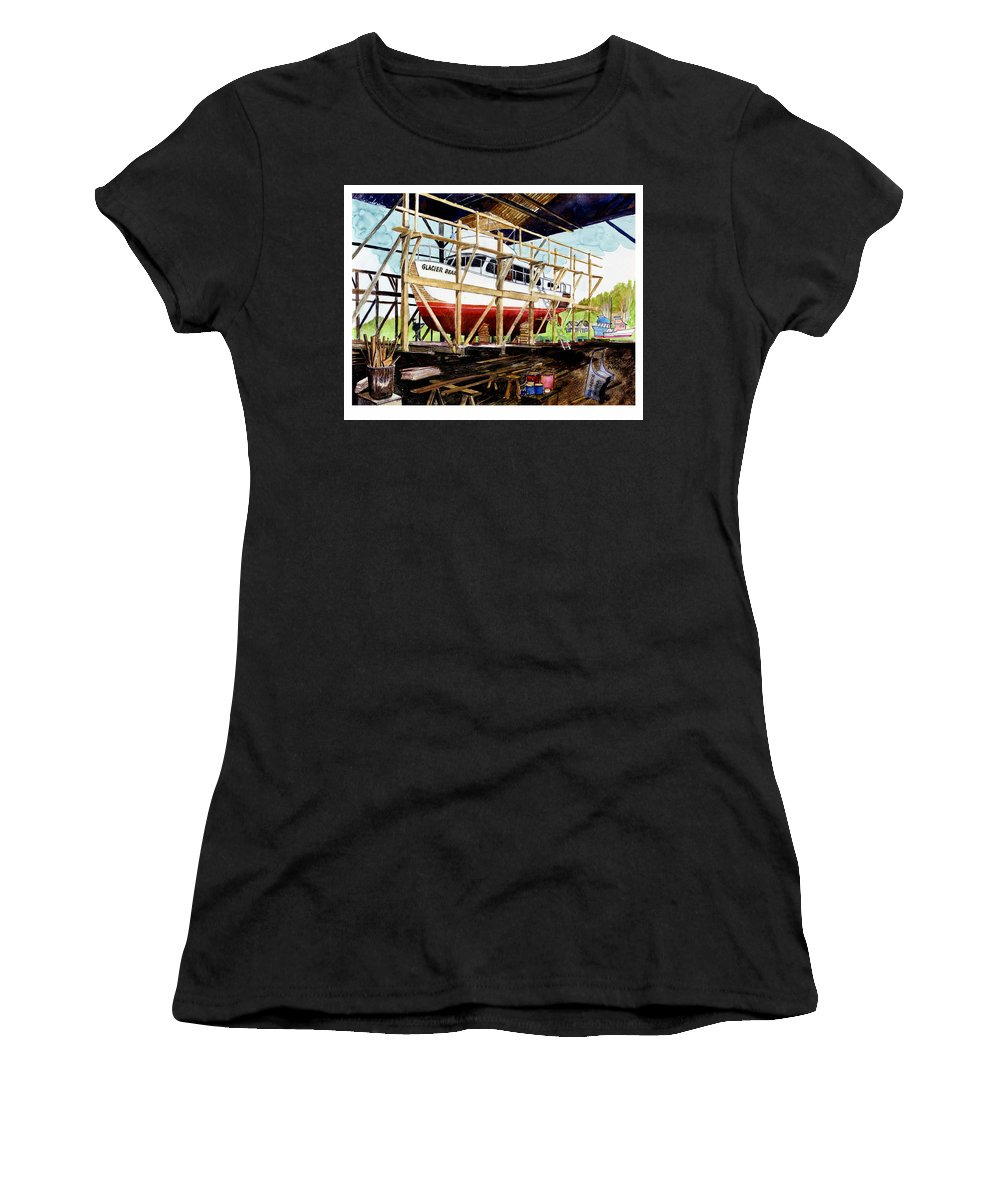 Marinas Women's T-Shirt (Athletic Fit) featuring the painting Yacht Glacier Bear Hauled Out In Gig Harbor by Jack Pumphrey