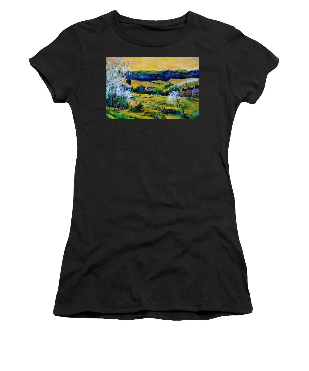 Landscape Women's T-Shirt featuring the painting Spring In Matagne by Pol Ledent